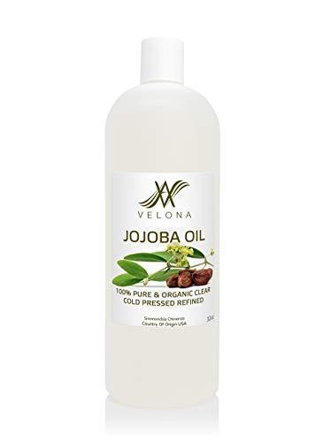 OLIO DI JOJOBA 100% NATURALE di Velona | Olio TRASPORTATORE tutto naturale per viso, capelli, corpo e cura della pelle | Raffinato, pressato a freddo | Dimensioni: 32 oz
