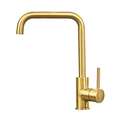 Hapilife Brushed Gold Kitchen Sink Mixer Tap Single Lever High Arc 10 Year Warranty, DT07T