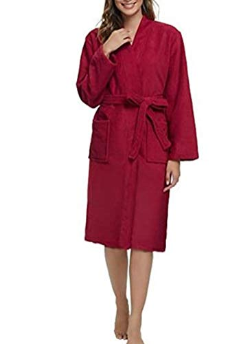 Albornoz para mujer sin capucha, cómodo, color sólido, manga larga, franela
