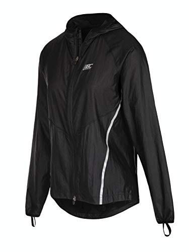 BODYCROSS Coupe-Vent Femme Vélia Noir A Capuche pour Trail Running - Très Léger, Respirant, Déperlant Et Compact - Passe Pouce pour Maintien