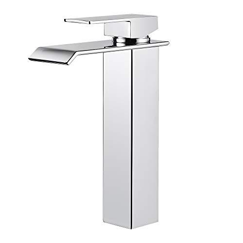 ZREE rubinetto bagno cascata alto, miscelatore bagno lavabo cromato, rubinetto a cascata, elegante rubinetto lavabo per bagno, ottone massiccio, alta qualità valvola in ceramica