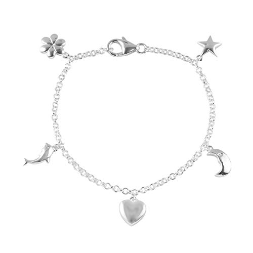 Charm Bracelets Silver Sea Shell Star Fish Foot Beach Anklet 7.25 Inch