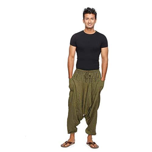 Haremshose Pumphose Aladinhose Pluderhose Yoga Goa Sarouel Baggy Freizeithose Singharaja Herren Farbe Grün, Größe One Size
