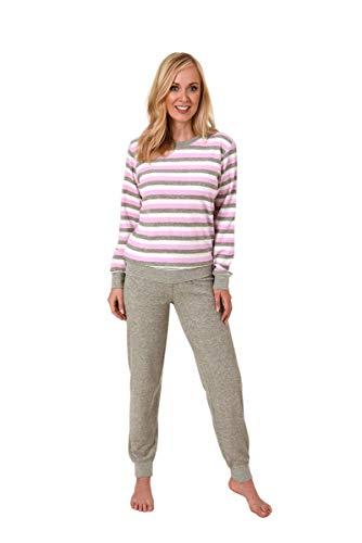 Unbekannt Damen Frottee Pyjama, Rundals, Ringel-Optik, Uni Hose, Rose/Grau, 61520, Gr. L 44/46