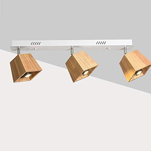 Nordic Style houten plafondlamp 3-spots plafondlamp plafondlamp wit E27 fitting voor projector