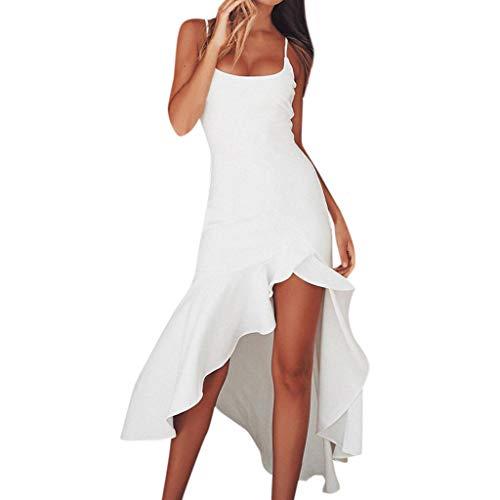 Ansenesna Kleider Sommer Damen Lang Mit Schlitz Elegant Cocktailkleid Rückenfrei Träger Vorne Kurz Hinten Lang Asymmetrisch Partykleid (L, Weiss)