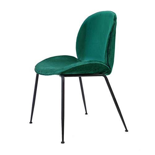 JIEER-C Ergonomische stoel, voor eetkamer, stoelen, zwart, poten van metaal, voor slaapkamer, kappersstoel, gestoffeerd, velours, voor woonkamer, vrijetijdsstoelen, slaapkamer, 57 × 52 × 85 cm, groen