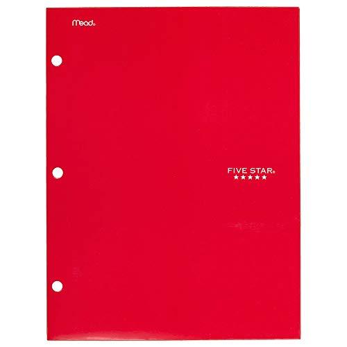 Five Star 4 Pocket Folder, 2 Pocket Folder Plus 2 Additional Pockets, Red (72089)