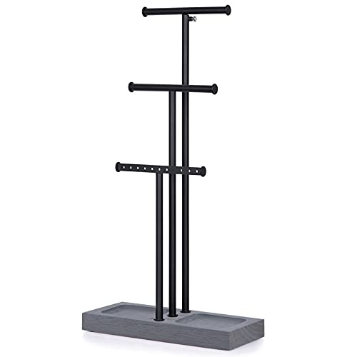 Love-KANKEI Jewelry Organizer Stand Metal & Wood Basic and Large Storage Necklaces Bracelets Earrings Holder Organizer Black and Weathered Grey