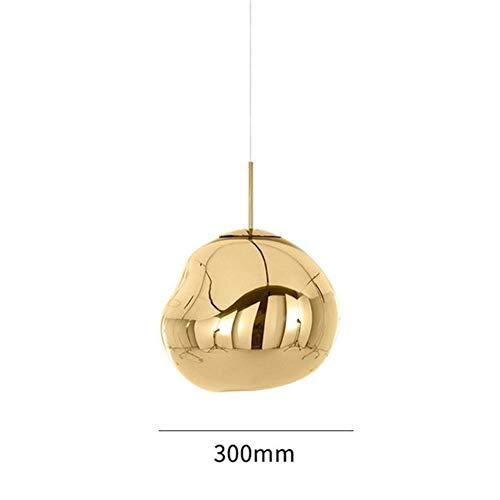 Italia moderna Diseñador masa fundida de vidrio luces pendientes de la lava irregular caída de la lámpara de la sala de estar Dormitorio (Body Color : Pendant Gold Dia30cm)