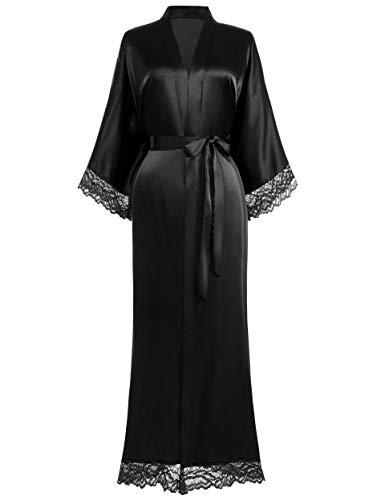 Coucoland Kimono Robe de chambre longue en satin avec bordure en dentelle pour femme - - Taille Unique (Noir)
