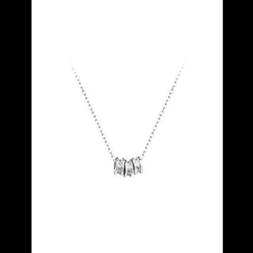 LIUWW Collar de Transporte de circón tricíclico de Plata esterlina 925 Temperamento Simple Moda Delicada Cadena de clavícula Regalo Femenino
