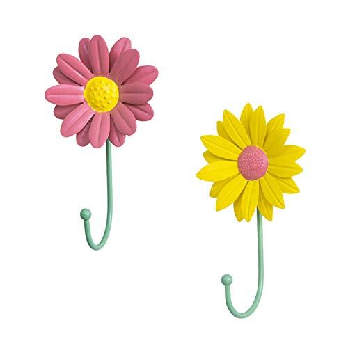 Keleily Ganchos Adhesivos Para Pared,2Piezas Toalleros de gancho Ganchos de pared decorativos de hierro fundido de margaritas con diseño de flores cortina ganchos de pared para colgar llaves toallas