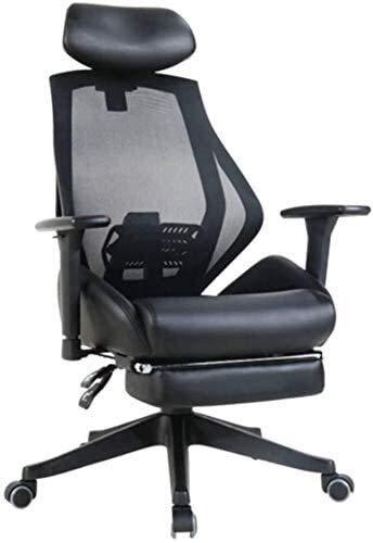 Fhw Silla de Ordenador ChairHousehold Oficina Jefe de Descanso de la Almuerzo de elevación Barandilla Negro Sillas de oficina (Color : A)