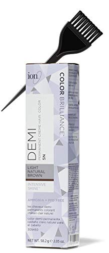 ION Color Brilliance PERMANENT Creme Hair Color Dye, PPD Free (w/Sleek Tint Brush) Intensive Shine Cream Haircolor (5N Light Brown - 2.05 oz)