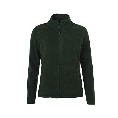 James & Nicholson - Damen Fleece Jacke mit Stehkragen im klassischen Design (L, Dark-Green)