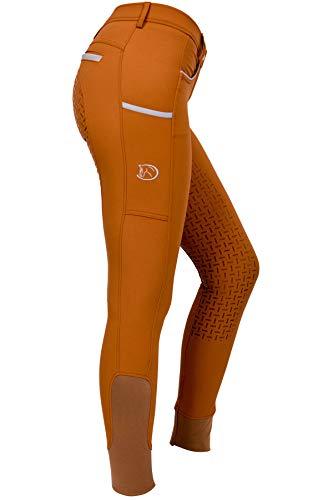 RIDERS CHOICE Damen Reithose mit Silikonvollbesatz und Handytasche, Limited Silver Design - RidersDeal Collection für Reiter, Caramel, 38
