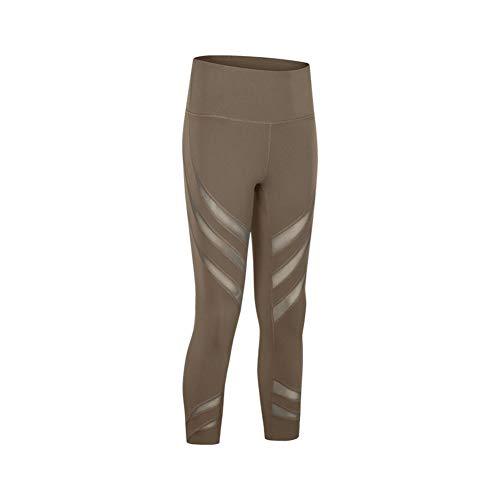 FireH Leggings a vita alta morbida occhio nudo maglia yoga fitness leggings signore vita alta gym leggings pantaloni da corsa a 4 vie 21 pollici (Colore : Bronze Gray, Dimensione : 10)