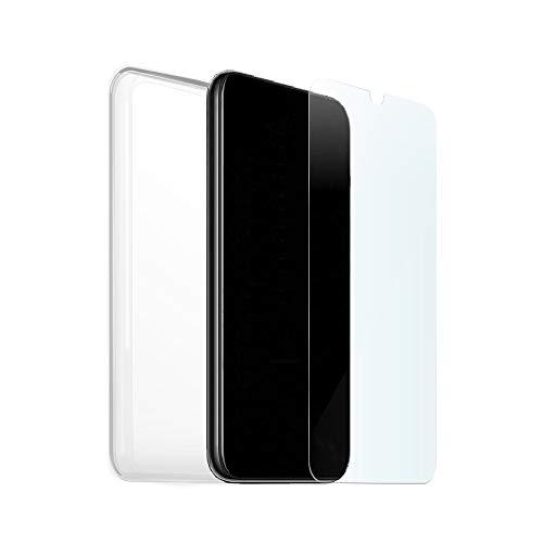KSTORE365 - Custodia + vetro temperato per Xiaomi Mi9 Lite, in silicone e vetro, cover in gel morbido con pellicola proteggi schermo, durezza 9H, custodia TPU trasparente