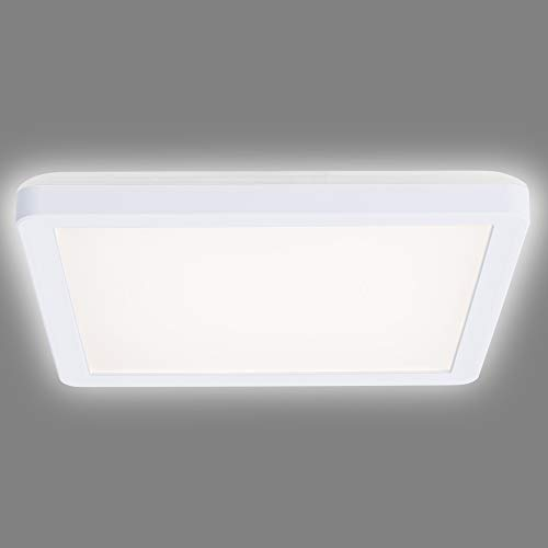 Navaris Lámpara LED de techo cuadrada - Iluminación en blanco neutro para cocina pasillo baño oficina - Foco con bombillas de bajo consumo - Blanca
