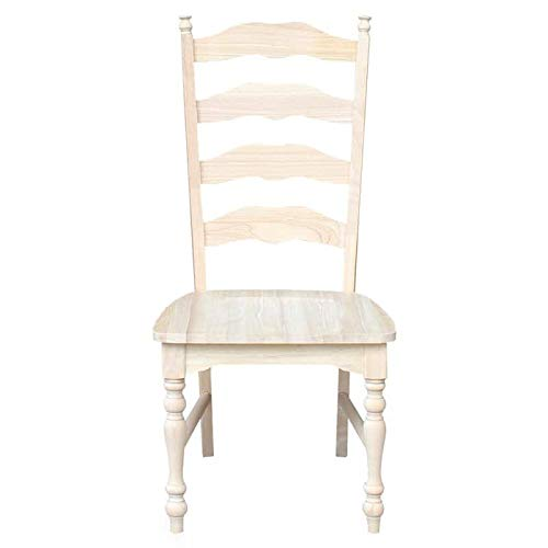 SuccessfulHome Traditional Unfinished Ladder Back Dining Chairs - Set of 2