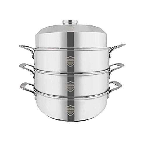 SHYPT Household Stainless Steel Steamer, Korean Non-stick Cooker, Tempered Glass Lid + All-steel Top Bead, Non-magnetic Double Pot (Color : B)