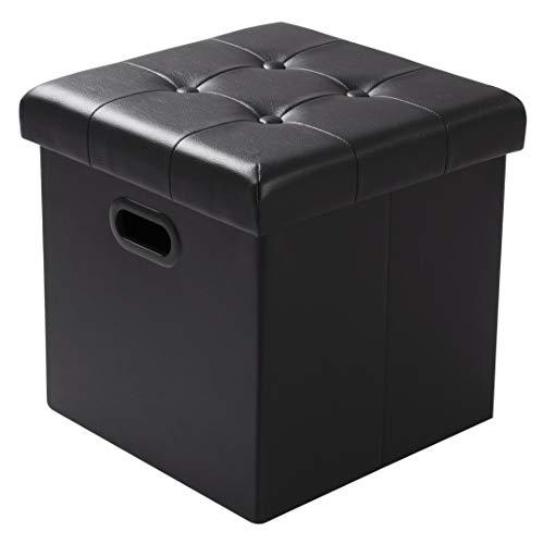 WOLTU Sitzhocker Sitzwürfel Fußhocker mit Stauraum Aufbewahrungsbox Truhen Faltbar, Deckel Abnehmbar, mit Griffe, Gepolsterte Sitzfläche aus Kunstleder, 37,5 * 37,5 * 38CM, Schwarz, SH15sz