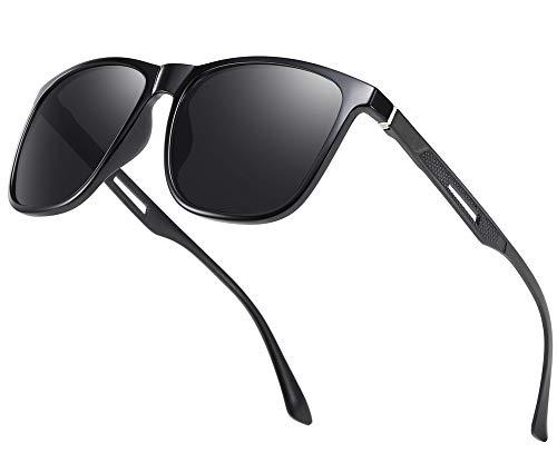 Effnny Gafas de sol polarizadas para hombres, protección UV, Lentes de sol espejadas 3333 (Montura negra y lentes grises.)