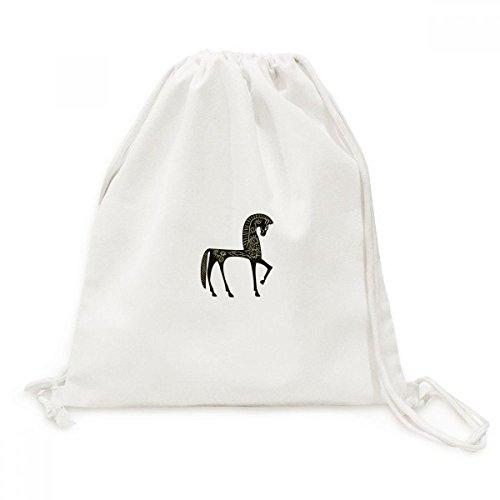 DIYthinker Kasteel Droom Prinses Stijl Paard Blauw Geel Canvas Trekkoord Rugzak Reizen Shopping Tassen