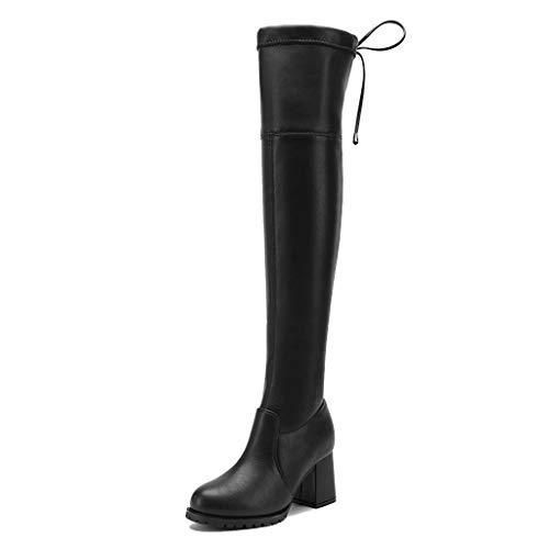 NSXUZ vrouwen leer over de knie lange laarzen zwart midden hak platte stretch laarzen casual kant up plat comfort laarzen