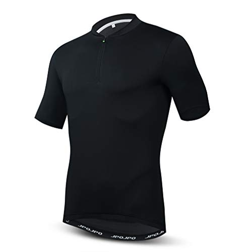 WeimoMonkey Fahrradtrikot für Herren, halber Reißverschluss, Rennradtrikot, kurzärmelig, MTB Downhill Gr. L, Schwarz