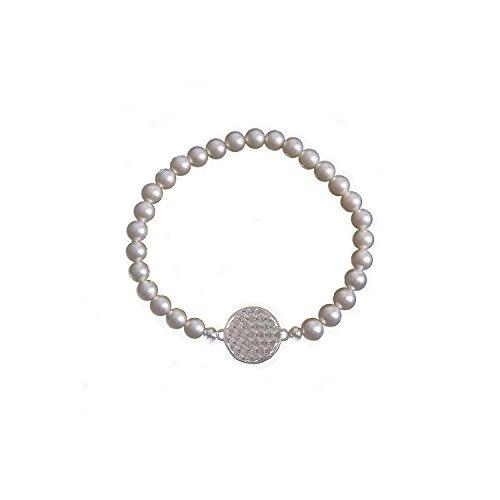 Strecharmband Perlenarmband mit 925 Silber Plättchen Blume des Lebens Ø 15 mm