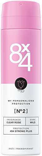 8X4 Deo Spray N°2 Clear Rose (150ml), Damen Deodorant mit frisch-floralem Duft, 48h zuverlässiger Anti-Transpirant-Schutz für alle Hauttypen