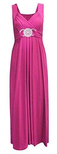 Womens Cocktail gesp Plus grote grootte Maxi jurk dames Wrapover avondjurken, Fuchsia, UK 8-10/US 4-6