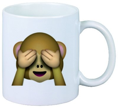 Druckerlebnis24 Taza No-Mal ve el Mono de cerámica, Smiley, Emoji, decoración, Culto, Taza de café Taza de té, iPhone, emoticonos.