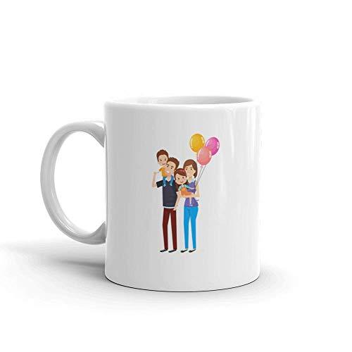 Dozili Lustige Kaffeetasse – Family Happy Characters Daughter Milch Keramik Kaffeetasse Tasse, 325 ml, weiß