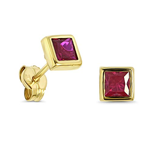 Miore square stud earrings for women in 9kt 375 yellow gold with red ruby