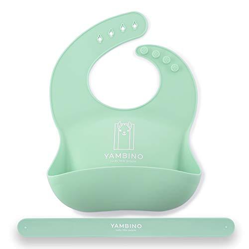 1 babero para bebé con correa 30x22cm - Babero de silicona sin BPA con bandeja de goteo - Comer sin derrames con babero impermeable - Fácil de limpiar, apto para el lavavajillas YAMBINO® (Turquesa)