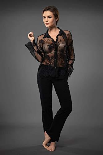 Millesime Camisa de Encaje Mujer | Sexy Top con Cinturón, Mujer Camiseta...