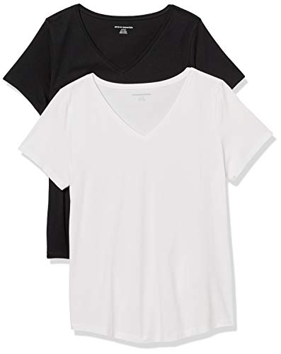 Amazon Essentials Women's 2-Pack Classic-Fit 100% Cotton Short-Sleeve V-Neck T-Shirt, Black/White, Small