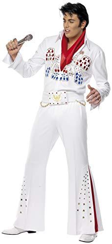 Smiffys, Herren Elvis American Eagle Kostüm, Overall mit Gürtel und Schal, Größe: M, 36101