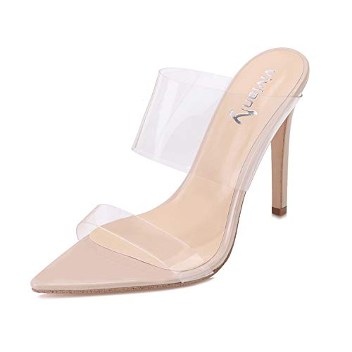 vivianly Clear Pointed Toe Sandals Stiletto Heels Transparent Strap High Heels Slip on Mules for Women