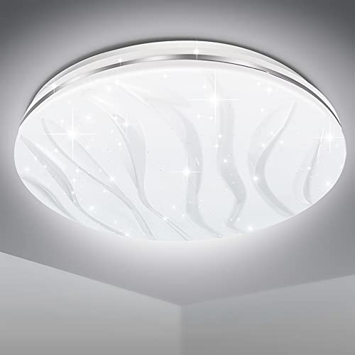 EXTRASTAR LED Plafoniera 24W 1900LM Bianco 6500K, Lampada a soffitto, Rotonda 33CM Moderno Plafoniere, per Soggiorno Bagno Camera da Letto Cucina Balcone Corridoio Ufficio