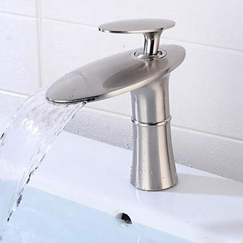 YALTOL Waschbecken Wasserhahn - Wasserfall Gebürsteter Nickel Freistehend Einhand EIN LochBath Taps