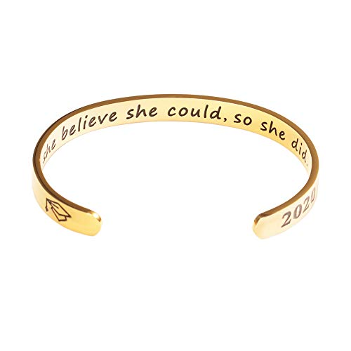 Inspirational Graduation Gifts Cuff Bracelet - Engraved Inspirational Bracelet Cuff Bangle with 2020 Graduation Grad Cap, Mantra Quote Keep Going Bracelet Graduation Friendship Gifts for Her Gold