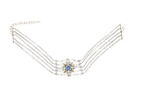 Behave® dames choker meervoudige halsketting met strass-steentjes van metaal - blauw - 30cm grootte