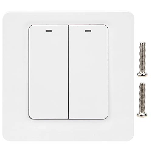 in-Wall Wireless Switch | Smart Switch WiFi Dimmer Switch Dimmable Light Switch Button Remote Control Industrial Accessories for Lamp/Lights/Ceiling Fans | 2.4GHZ 100‑240VAC DS-102-2