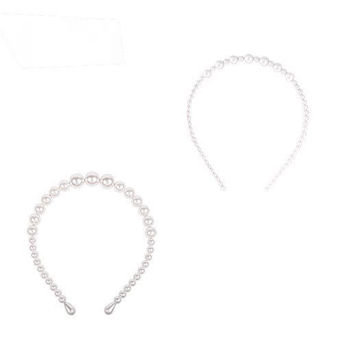 2 Stück Perlen-Haarbänder mit Kunstperlen, Schlichtes Design, Weiße Perle Stirnbänder, Faux Perle Haarband Stirnband Haarschmuck, Perle Stirnbänder für Party, Hochzeit, Geburtstag