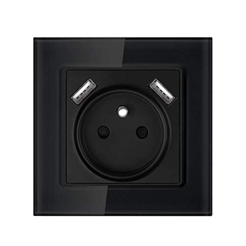 Toma De Corriente, Toma Con Puerto De Carga Usb 2.1a 16a Toma De Pared Con Panel De Cristal Blanco-Negro_110-250 V