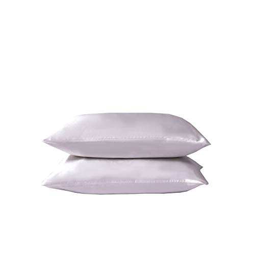 Juwenin Home Juego de 2 fundas de almohada de seda satinada suave y pura, funda de almohada para cabello y piel con cierre de sobre (blanco, estándar (50 x 75 cm)